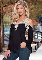 """Женская блуза-кофта """"Vest"""" с кружевной окантовкой на груди  (черная)"""
