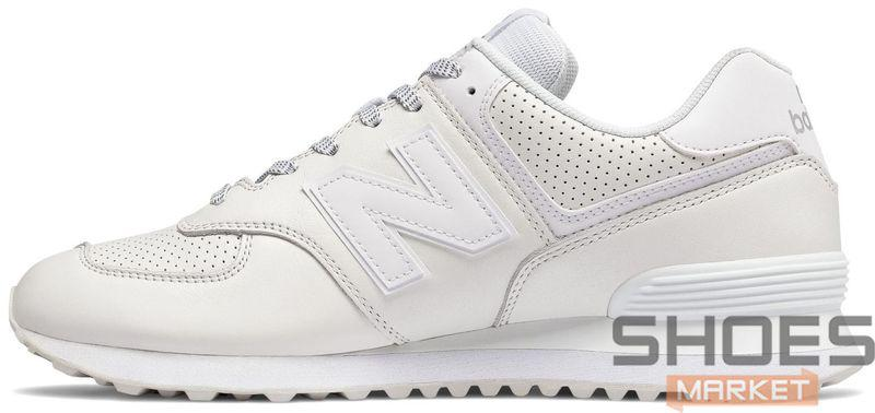 Женские кроссовки New Balance 574 All White,  нью беланс 574