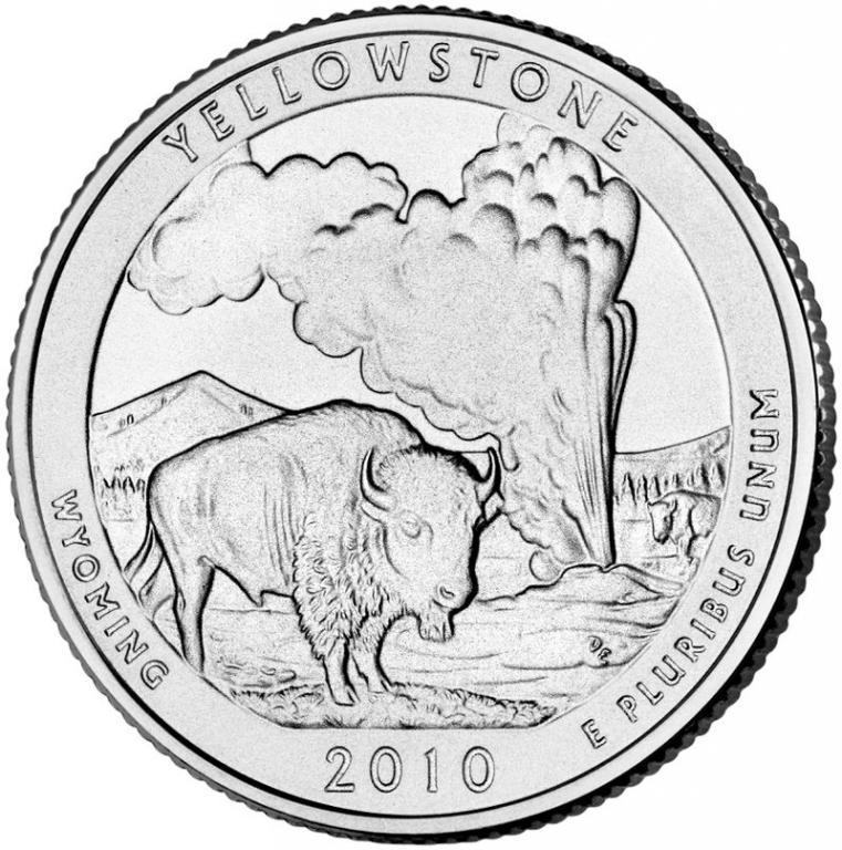 США 25 центов 2010, 2 Парк Йеллоустонский национальный парк