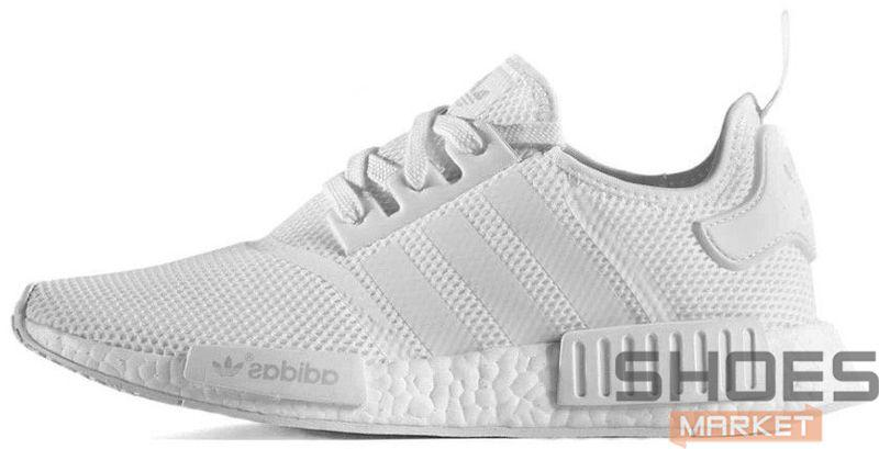 Мужские кроссовки Adidas NMD R1 Triple White, Адидас НМД
