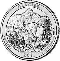 США 25 центов 2011, 7 Парк Национальный парк Глейшер, штат Монтана