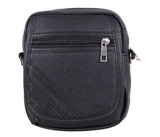 Мужская сумка на пояс и через плечо из качественной искусственной кожи черная
