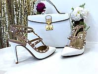 Женские босоножки c заклепками Valentino 'Rockstud' белые (реплика), фото 1