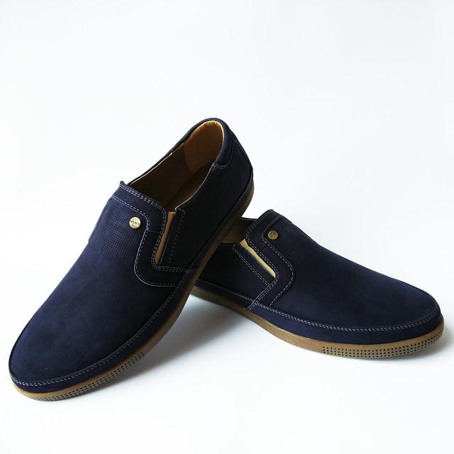Повседневная кожаная обувь Харьков мужская синие, замшевые мокасины, под ложку от Affinity