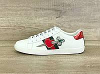Женские кроссовки Гуччи с вышивкой, белые кожаные