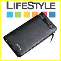 Мужской стильный кожаный портмоне кошелек Baellerry Italia Черный