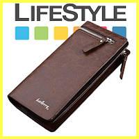 Мужской стильный кожаный портмоне кошелек Baellerry Italia Коричневый