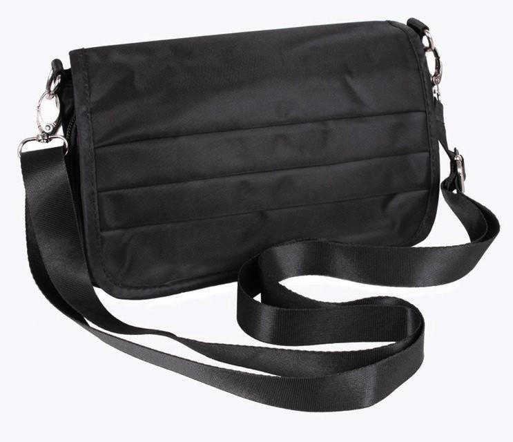 Мужская тканевая сумка на пояс и через плечо черная
