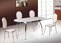 Стол обеденный стеклянный, ультрабелый (раскладной)