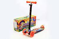 Бесплатная доставка. Трехколесный самокат Scooter со светящимися колесами для детей и подростков весна-лето, фото 1