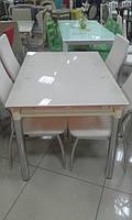 Стол стеклянный, бежевый (+2 вставки)