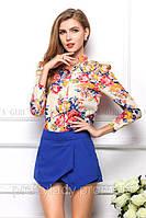 Блузка женская / рубашка с цветочным принтом розовая 48