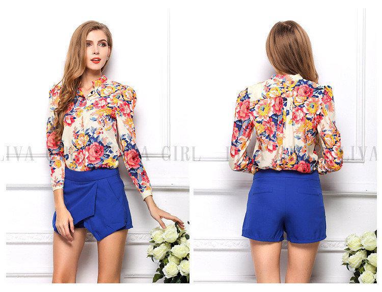 d5c358c1a4b Блузка женская   рубашка с цветочным принтом розовая синяя  продажа ...