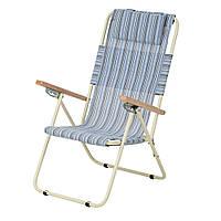 """Кресло-шезлонг """"Ясень"""" d20 мм (текстилен голубая полоска), фото 1"""