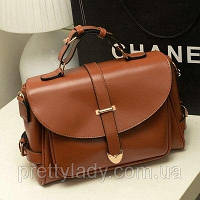 Женская винтажная сумка Почтальон коричневая, фото 1