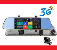 "A6 Зеркало регистратор, 7"" сенсор, 2 камеры, GPS навигатор, WiFi, 8Gb, Android, 3G"