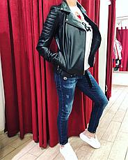 Куртка черная женская кожаная, фото 2