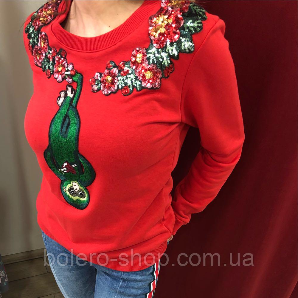 Кофта свитшот женская Gucci красная с вышивкой и пайетками