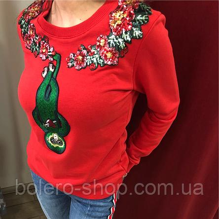 Кофта свитшот женская Gucci красная с вышивкой и пайетками, фото 2