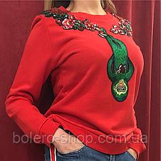 Кофта свитшот женская Gucci красная с вышивкой и пайетками, фото 3