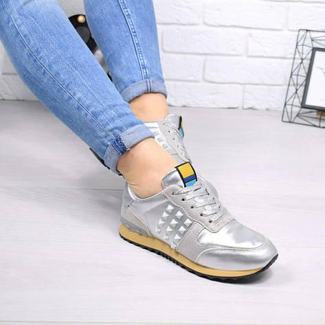 """Кеды, кроссовки, мокасины женские серебристые """"Valentino"""" эко кожа, спортивная, повседневная, летняя обувь, фото 2"""