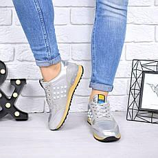 """Кеды, кроссовки, мокасины женские серебристые """"Valentino"""" эко кожа, спортивная, повседневная, летняя обувь, фото 3"""