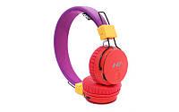Наушники NIA X2  Bluetooth + Mp3 плеер и Fm Фиолетово - коралловые