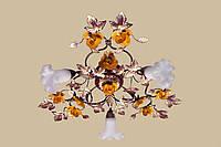Люстра в стиле флористика с дынно-жёлтыми розами 04545/3 СY
