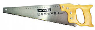 Пилка по дереву, дерев'яна ручка, гартовані зубці, 400мм, 7/1 , 2D Technics 41-060   пила закаленные зубцы