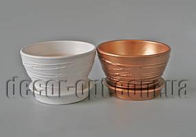 Цветочный керамический горшок с текстурой Ø14,0см/h8,5см