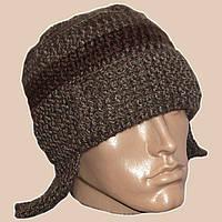Мужская вязаная зимняя шапка-ушанка на подкладке коричневого цвета