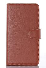 Кожаный чехол-книжка для Sony Xperia M4 Aqua коричневый
