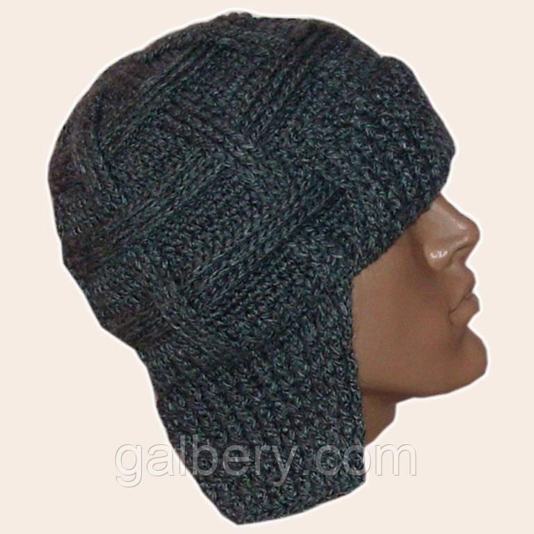 Мужская вязаная зимняя шапка - ушанка на подкладке цвета маренго