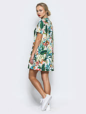 Лаконічне плаття футболка прямого крою з прінтом , фото 3