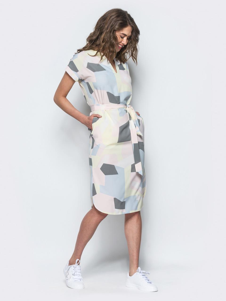 Платье женское прямого кроя из легкого софта