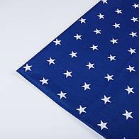 Лоскут ткани №161 белые звёздочки на синем фоне