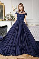 Вечернее шёлковое платье с кружевом (тёмно-синее) M