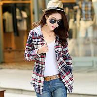 Стильная всесезонная женская рубашка в клетку с капюшоном №861-3 (серый)