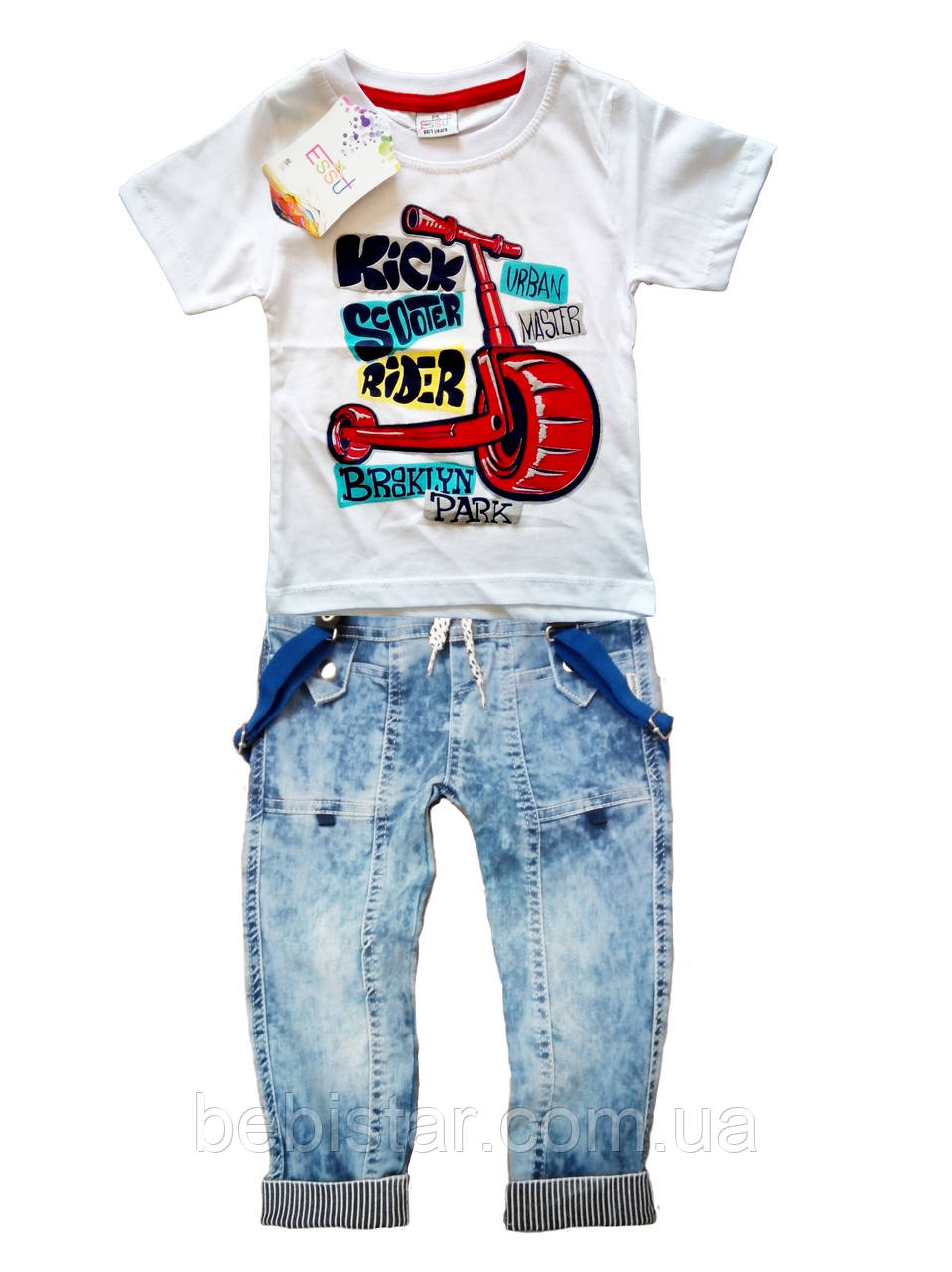 Джинсы на подтяжках и футболка с самокатом для мальчика 1-4 года