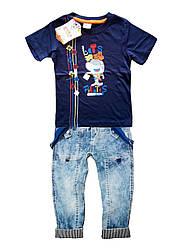 Джинсы на подтяжках и футболка с акуленком для мальчика 1-4 года