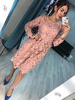 Красивое кружевное женское платье миди (3цвета)