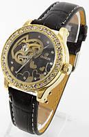 Женские механические наручные часы Goer (золотой корпус, черный ремешок), фото 1