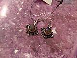 Красивые серьги с камнем лабрадор в серебре. Серьги с лабрадором, фото 3