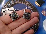Красивые серьги с камнем лабрадор в серебре. Серьги с лабрадором, фото 2
