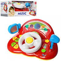 Автотренажер руль детский игрушечный 6815N, 25см, музыка, звук, свет, трещотка, на бат-ке, в кор-ке, 30-22-14