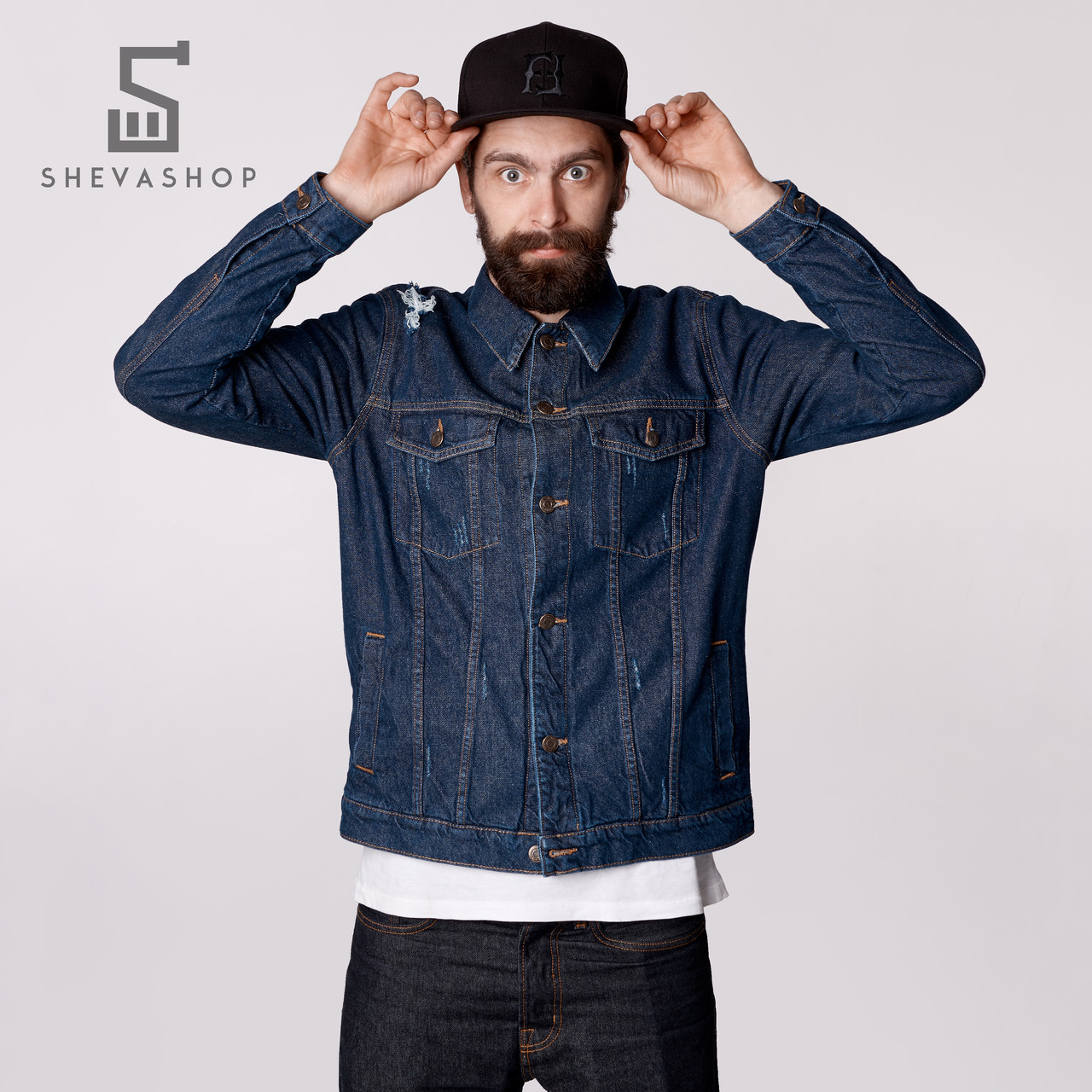 1b7bcb25 Джинсовая куртка мужская F&F Trucker темно-синяя - купить по лучшей ...