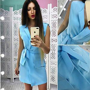 Стильное платье-пиджак без рукавов со съемным поясом 42-44 р