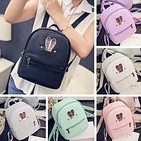 Рюкзак женский городской кожзам с ушками яркий