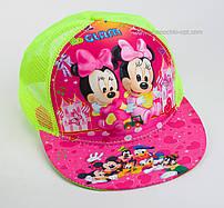 """Стильная детская кепка snapback """"Минни-Маус 3D"""" Glam сетка салатовая."""