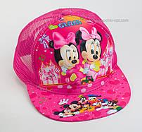 """Стильная детская кепка snapback """"Минни-Маус 3D"""" Glam сетка малиновая."""